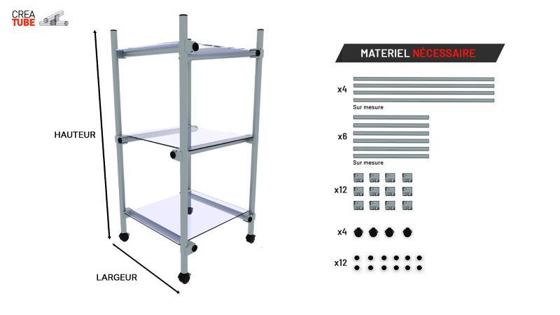 Schema montage table roulante aluminium